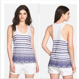 Sam Edelman Blue and white embroidered tank top